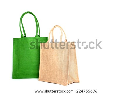 Shopping bag made out of recycled Hessian sack - stock photo