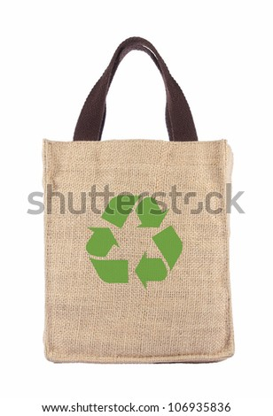 Shopping bag made out of recycled Hessian sack with forming over white background - stock photo