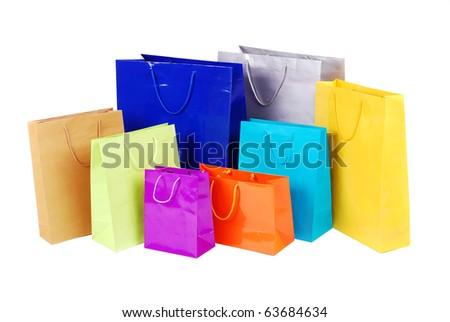 shopping bag on isolated white background - stock photo