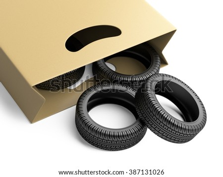 Shopping bag with automative tyres on white background 3d image.
