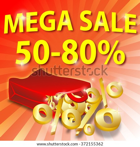 shopping bag with golden percent. mega sale - stock photo