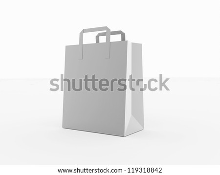 Shopping bag with paper isolated