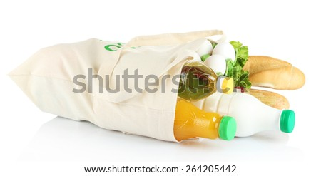 Shopping bag with set of products isolated on white background - stock photo