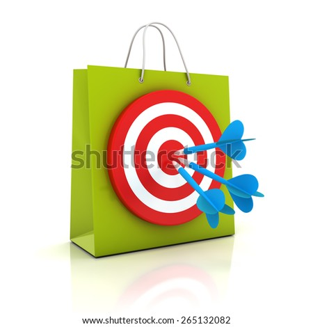 Shopping bag with target, 3d render, white background - stock photo