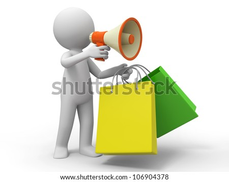 Shopping bags/ a people is using a megaphone