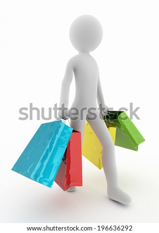 shopping bags and 3d character walking - stock photo