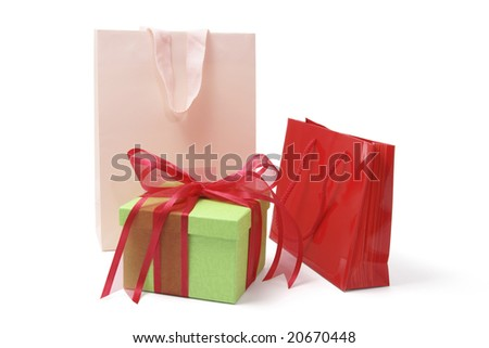 Shopping Bags and Gift Box on White Background - stock photo