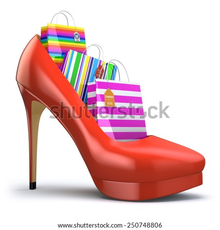 Shopping bags in women high heel shoes. Concept of consumerism. 3d - stock photo