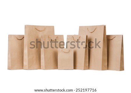 Shopping bags isolated on the white - stock photo