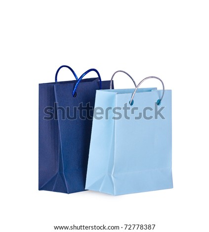 Shopping bags on a white background close up - stock photo