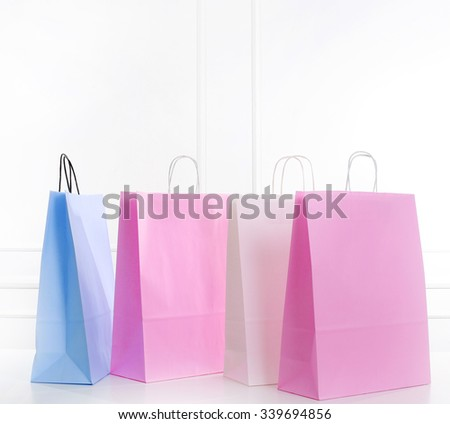 Shopping bags on the floor - stock photo