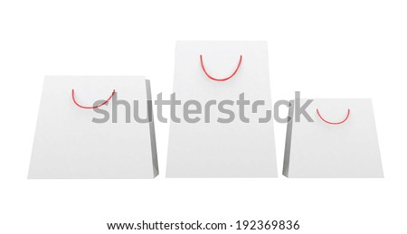 shopping bags with blank fronts cut out on white backgrounds