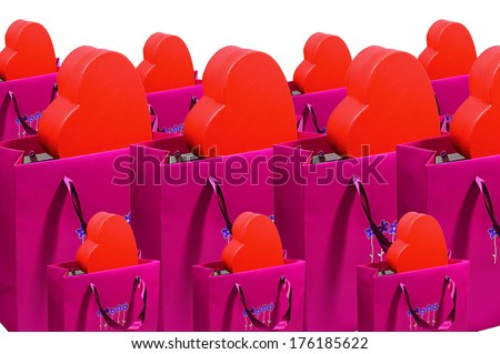 shopping bags with hearts - stock photo