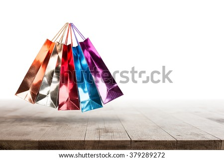 Shopping bags with sale for clearance stock.  - stock photo