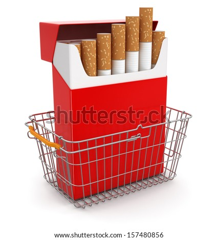 Shopping Basket and Cigarette Pack (clipping path included) - stock photo