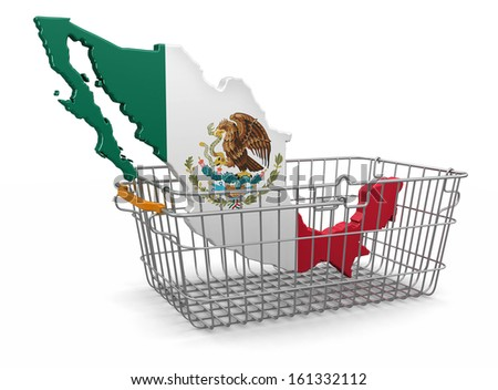 Shopping Basket and Mexican map (clipping path included) - stock photo