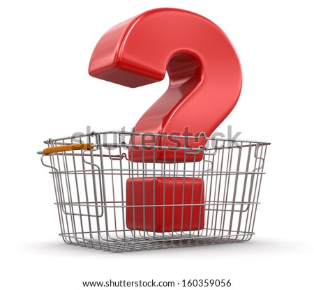 Shopping Basket and Quest (clipping path included) - stock photo