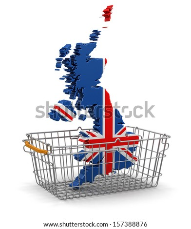Shopping Basket and UK map (clipping path included) - stock photo