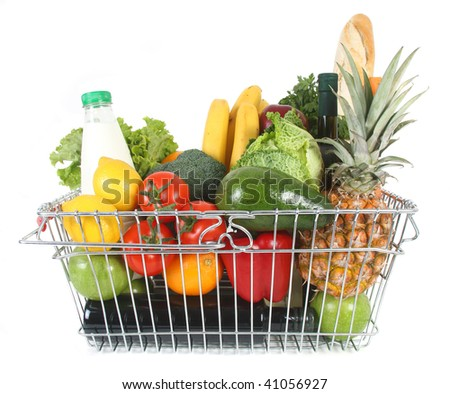 Shopping basket filled with fresh fruit and vegetables