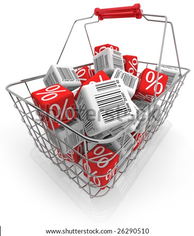 Shopping basket with cubes isolated on white - stock photo