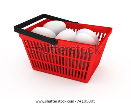 Shopping basket with eggs over white background. 3d rendered image - stock photo