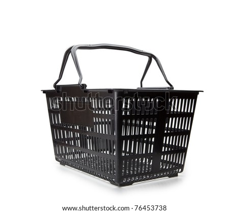 Shopping basket with handle up. Isolated on white. - stock photo