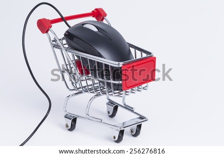 Shopping basket with mouse isolated on white background  - stock photo