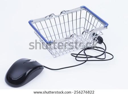 Shopping basket with mouse isolated on white background - stock photo
