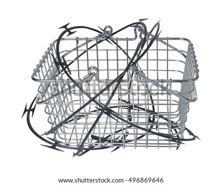Shopping basket wrapped in razor wire to show the dangers of some purchases - path included