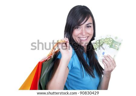 shopping brunette girl whit money - stock photo