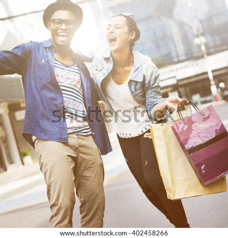 Shopping Buyer Fun Consumer Spend Leisure Concept - stock photo
