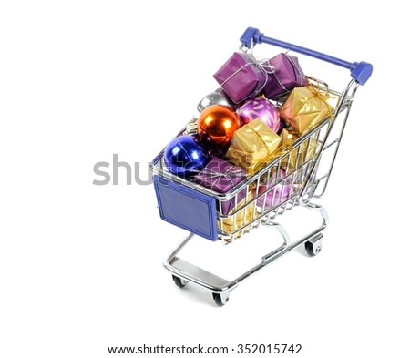 Shopping card full of little gifts  on a white background