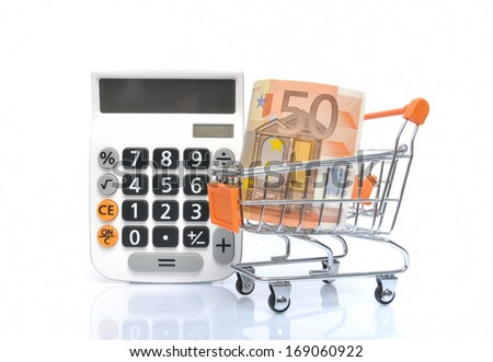 Shopping card with 50 Euro banknote and white calculator - stock photo