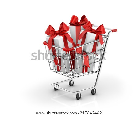 shopping cart and gift - stock photo