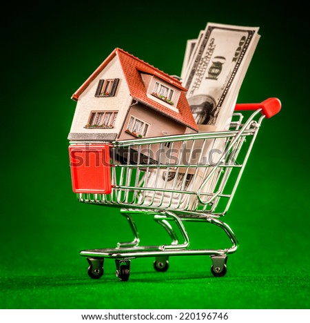 shopping cart and house on a green background - stock photo