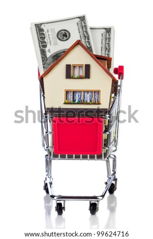 shopping cart and house on a white background - stock photo