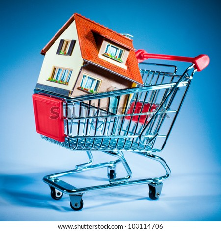 shopping cart and house on blue background - stock photo
