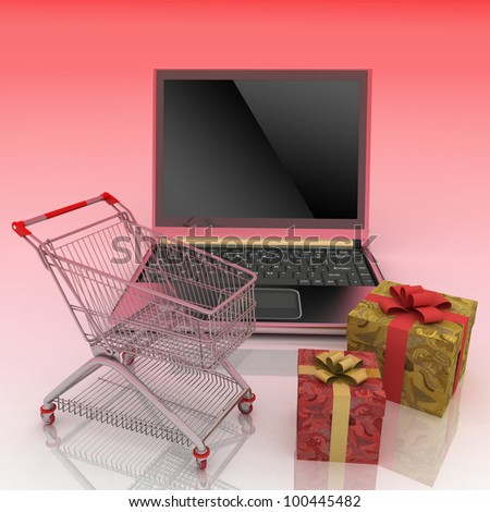 Shopping-cart and laptop. Conception of purchase of gifts on the internet