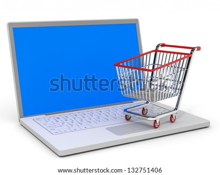 Shopping cart and laptop on white background. Concept shopping on Internet. 3D illustration.