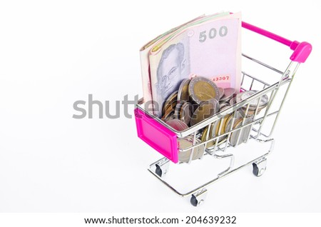Shopping cart and money Thai bath  on the white background - stock photo