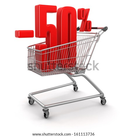 Shopping Cart and -50 percents (clipping path included)