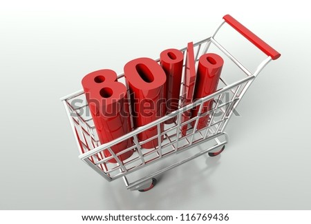 Shopping cart and red eighty percent discount, sale concept - stock photo