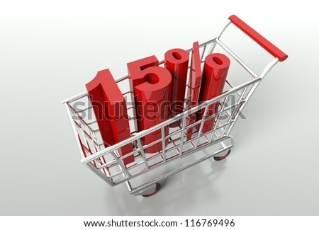 Shopping cart and red fifteen percent discount, sale concept - stock photo
