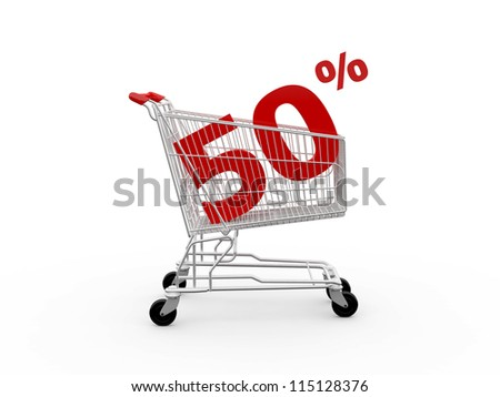 Shopping cart and red fifty percentage discount, isolated on white background. - stock photo