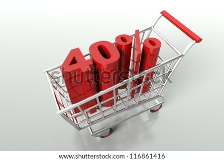 Shopping cart and red forty percent discount, sale concept - stock photo