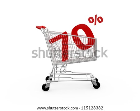 Shopping cart and red seventy percentage discount, isolated on white background.