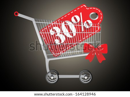 Shopping cart and red thirty percentage discount - stock photo