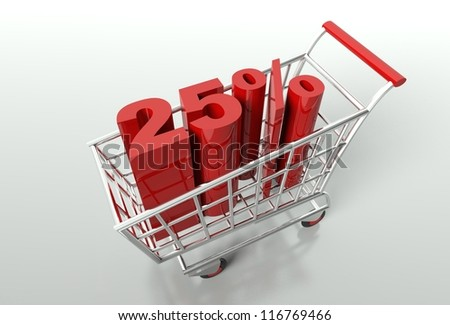 Shopping cart and red twenty five percent discount, sale concept - stock photo