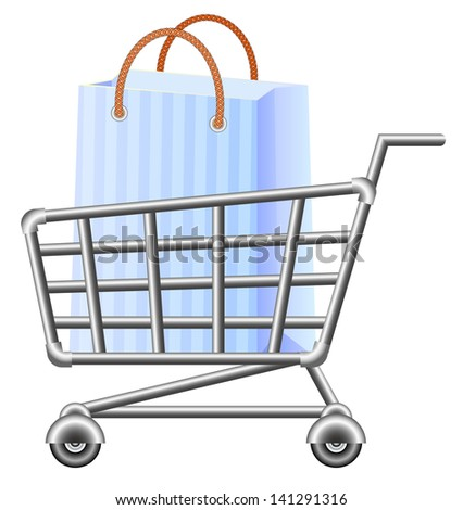 Shopping-cart and shopping bag. Raster version, vector file also included in the portfolio.