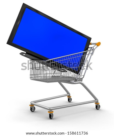 Shopping Cart and TV (clipping path included) - stock photo